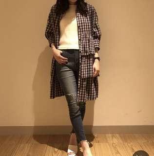 🚚 日牌lowrys farm格紋洋裝 罩衫