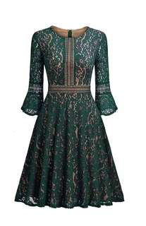 Green Vintage Floral lace dress A-line knee lenght