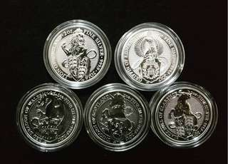 UK Queen Beast 2 oz silver coin