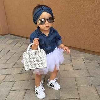 🚚 0-5T Tutu Dress set for Baby Girls (Denim-look)