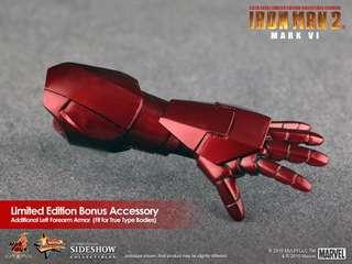 全新絕版(未開封)Hottoys 限量版 Iron Man Mark VI 6 Limited Edition Bonus Accessory 手臂 (可裝上True Type Body素體,Hot Toys 1/6 Action Figure 適用) Marvel Ironman Avengers 鋼鐵奇俠 復仇者聯盟 電影 Movie