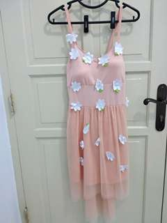Dress bunga wanita peach