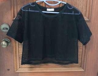 Black Mesh Crop Top (from Korea)