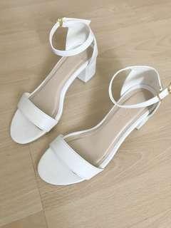 RUSH SALE!!! Tutum white strappy block heels