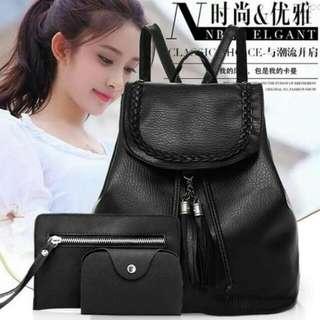 SD: 3-in-1 Ladies Korean Black Backpack