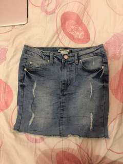 Denim skirt (fit/jeggings type/stretchable)