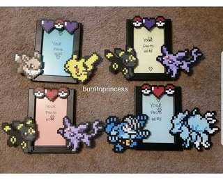 Hama beads design frame designed with pokemon characters