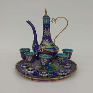Vintage Chinese Cloisonne Winepot Cups Hand-painted Ornamental Wine Set With Dragon And Phoenix Bird Pattern