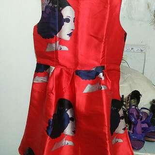 Dress red floral