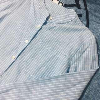 Blue striped mandarin collar top