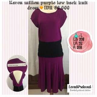 Karen millen purple knit low back dress