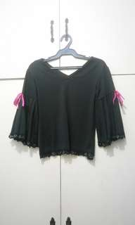 WA691 Black Blouse w/ Flare Sleeves (Some parts of lace needs Stitching)