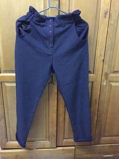 🚚 Dobe購入 正韓花苞褲頭深藍西裝褲