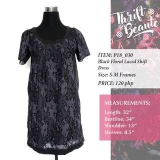 Black Floral Lace Shift Dress