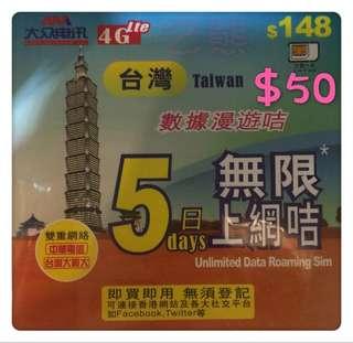 台灣5日上網卡