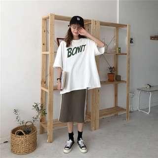 兩件拆售@後開叉條紋邊運動風長裙+素色撞色字母寬鬆上衣