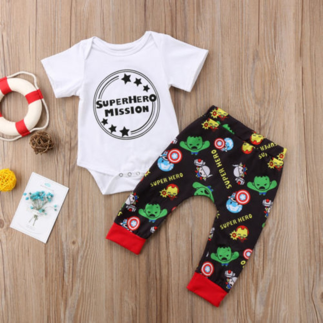 dffdaeca3958 2pcs Toddler Infant Kids Baby Boys Romper T-shirt Tops+Pants Outfits ...