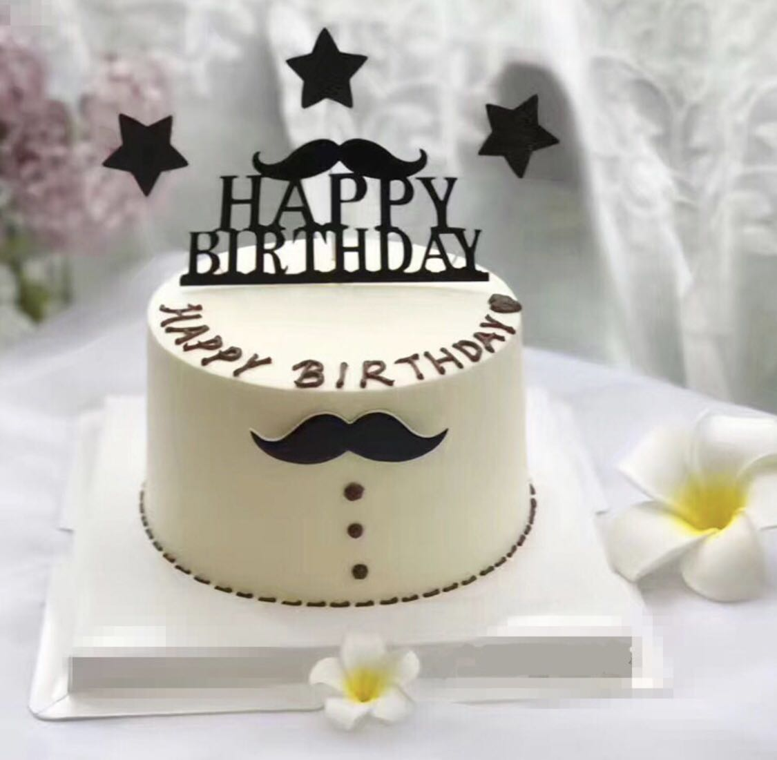5 Happy Birthday Cake Topper Black Moustache Bunting Party