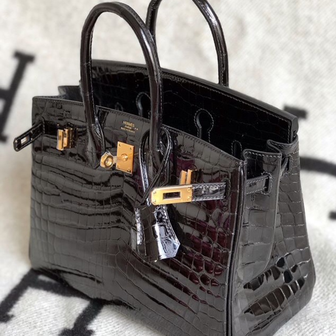 e8ced2535e Authentic Hermes birkin 25 black shiny niloticus ghw stamp A