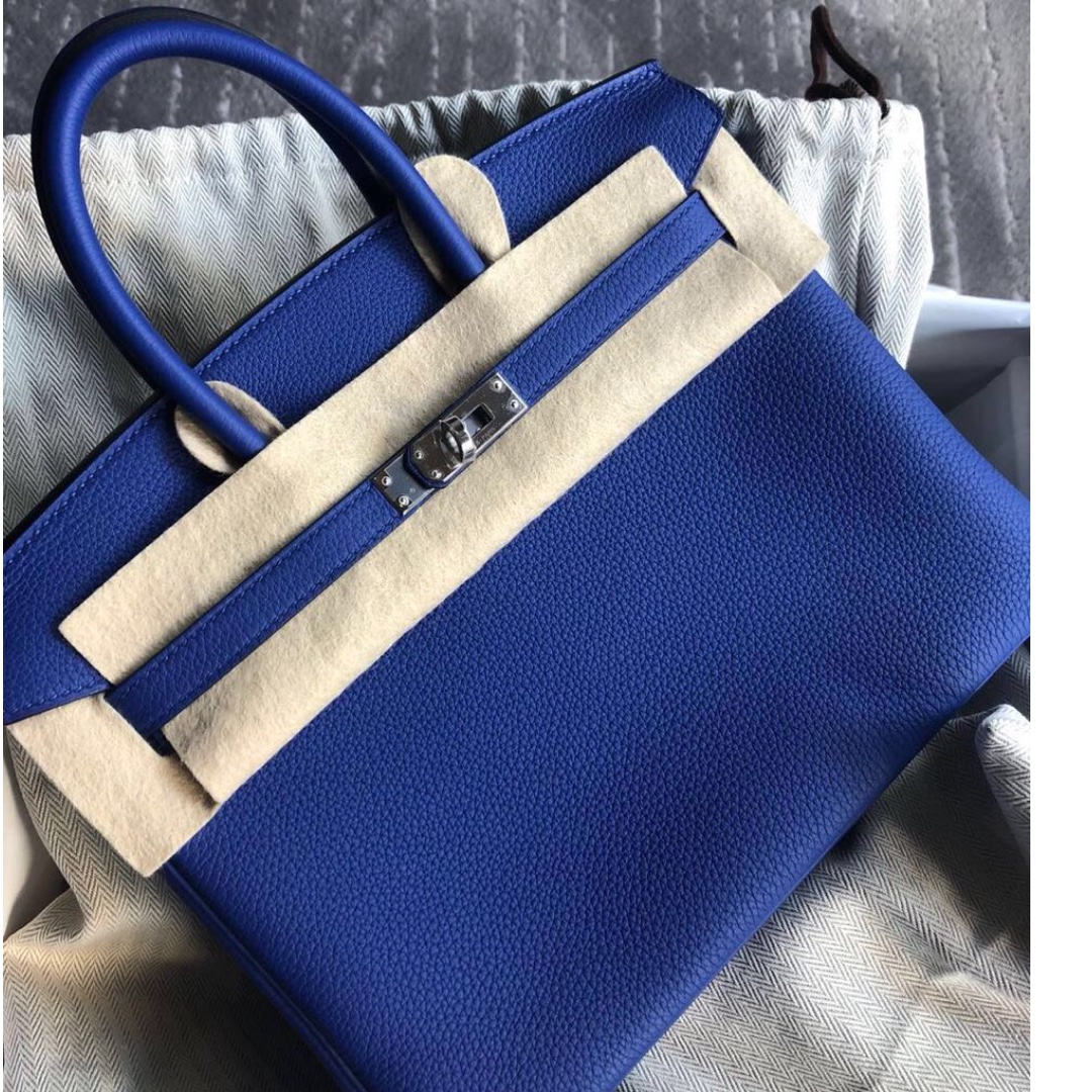 90a5d815ac Authentic Hermes birkin 25 blue electric togo phw stamp C