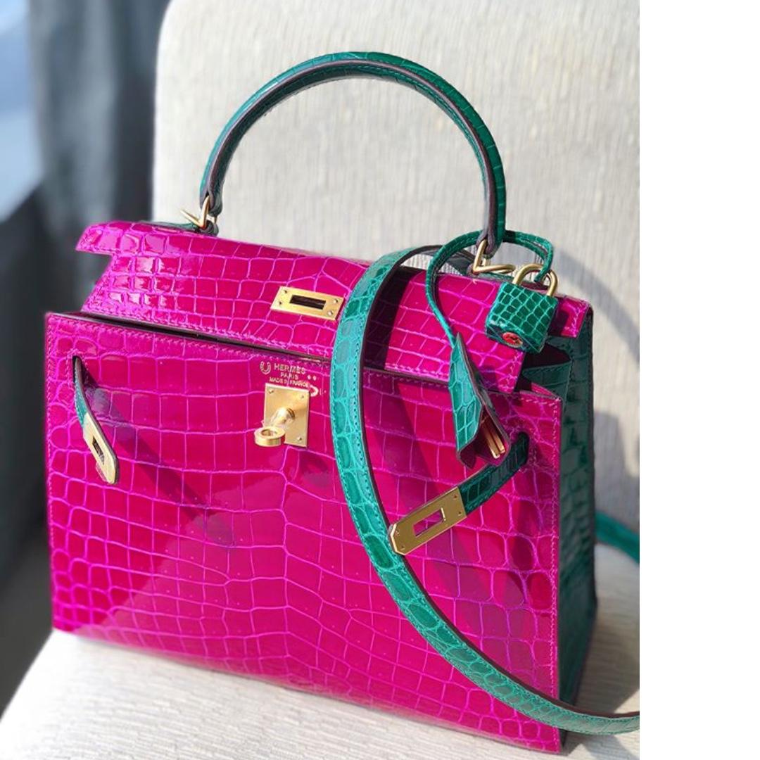 541b307d62f Authentic Hermes Kelly 25 HSS rose scheherazade emerald shiny ...