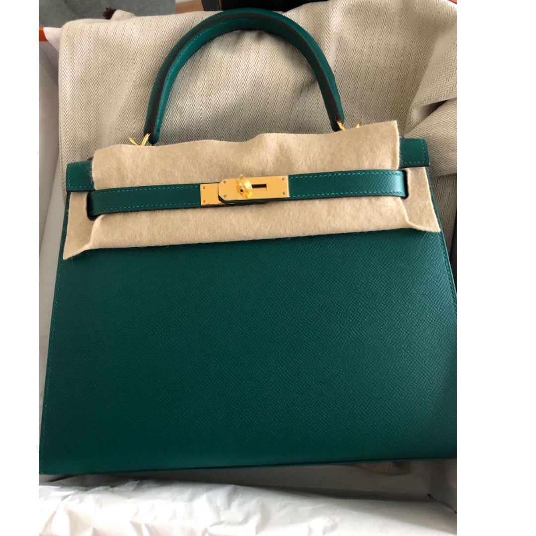 d54ed636c62db Authentic Hermes kelly 28 malachite epsom ghw stamp A
