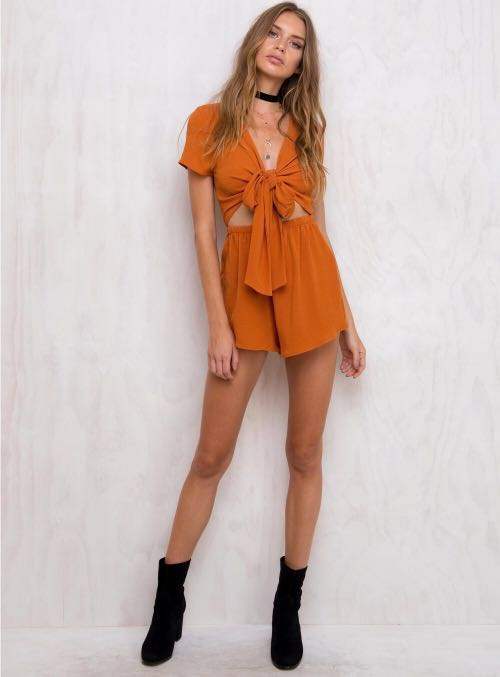 5410186984 authentic princess polly sweet sahara tie front rust burnt orange boho  romper