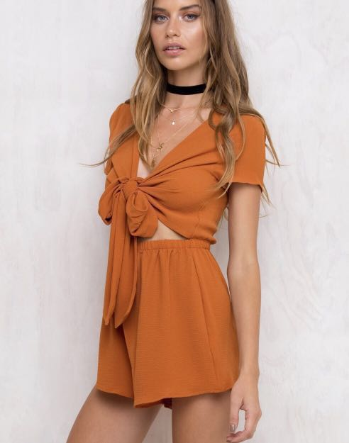 b9e49b03d5 Authentic Princess Polly Sweet Sahara Tie Front Rust Burnt Orange. Black  Sweet Sahara Tie Front Playsuit ...