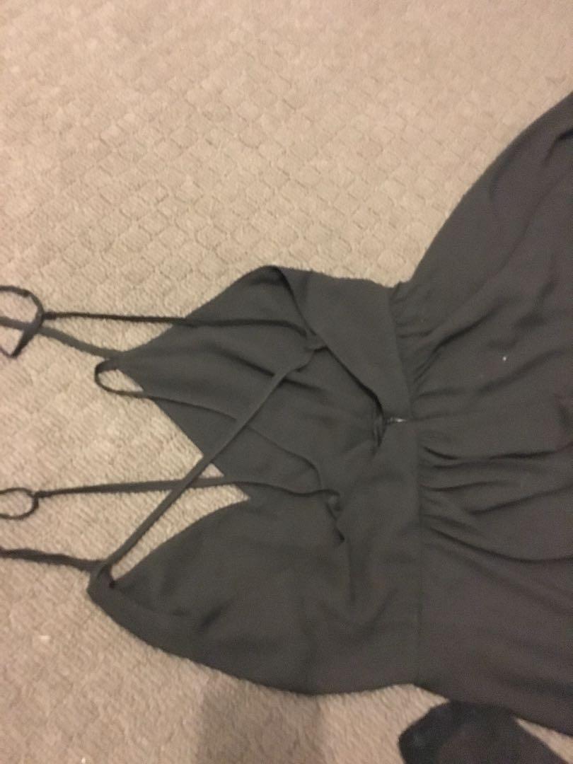 Black cris cross back dress
