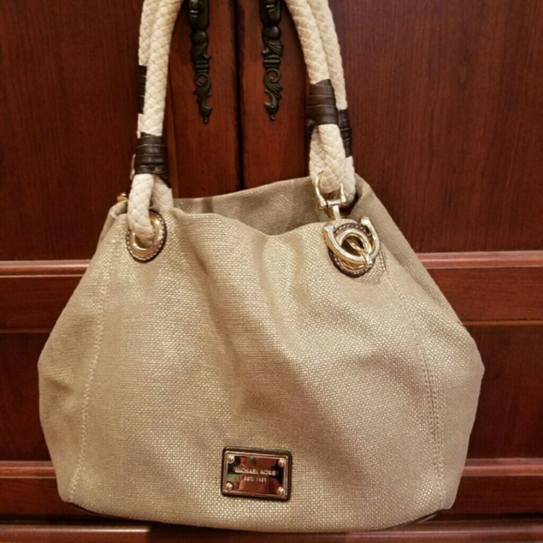 17ae31c066114d ... promo code for bnwot mk michael kors marina grab bag gold canvas tote  authentic womens fashion