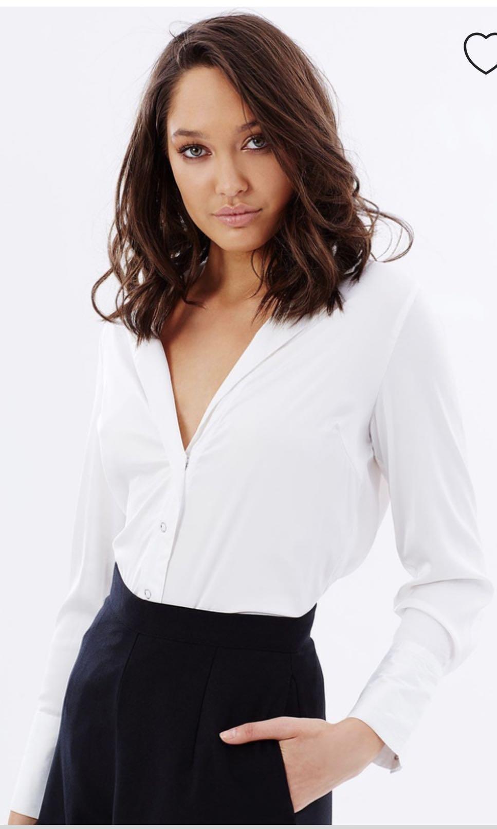 DELPHINE Size 6 Underflow Shirt in White