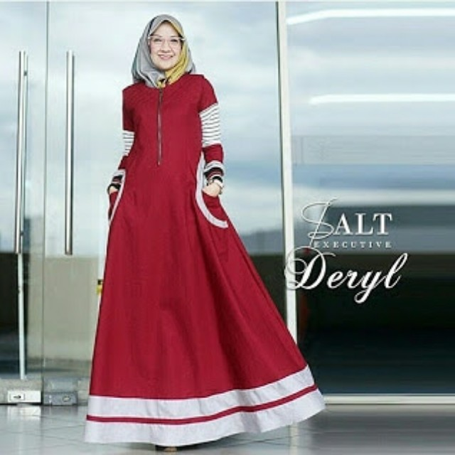 Deryl Maxi Dress Ima Platinum Mix Scuba Premium Gamis Remaja Casual