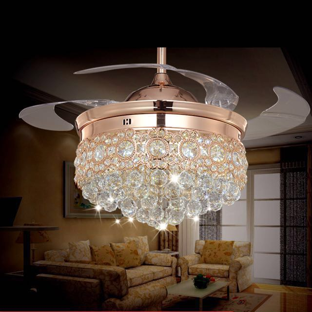 Hidden Blade Retractable Chandelier Ceiling Fan Furniture Home Decor Antiques On Carousell