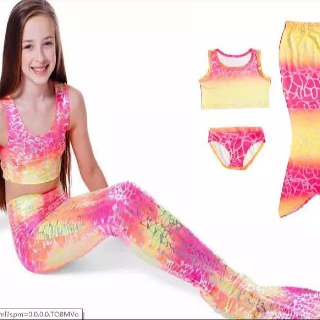 Kids Swimmable Mermaid Tail Bikini Swimsuit Swimming Costume