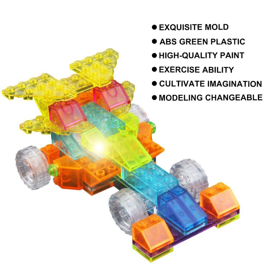 Sprint Car Building Blocks 74 Pieces Versatility Vehicle Kit, Preschool Skills Educational Game Construction Stacking Sets with a light-emitting element