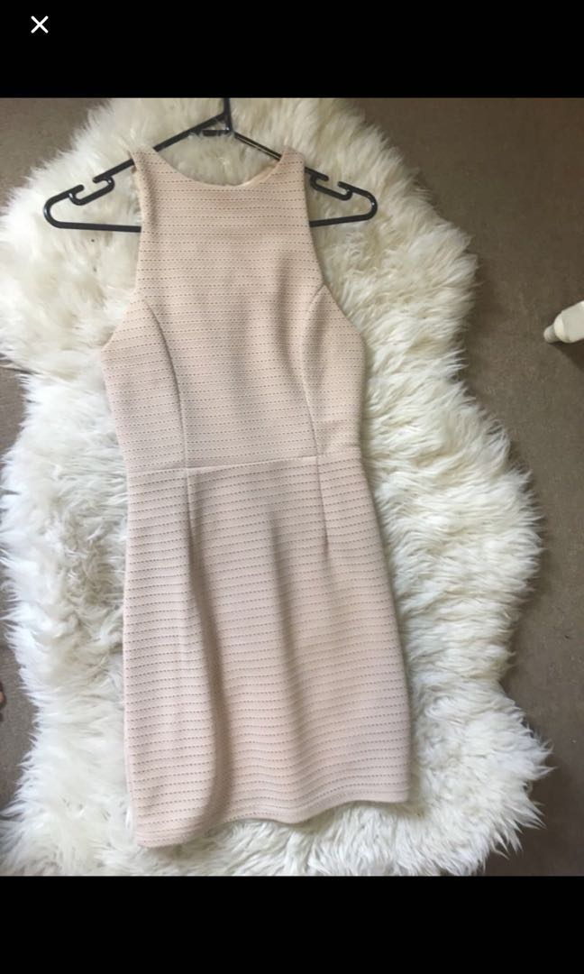 Wardrobe Essential! - Nude Blush High Neck Dress - Size 8