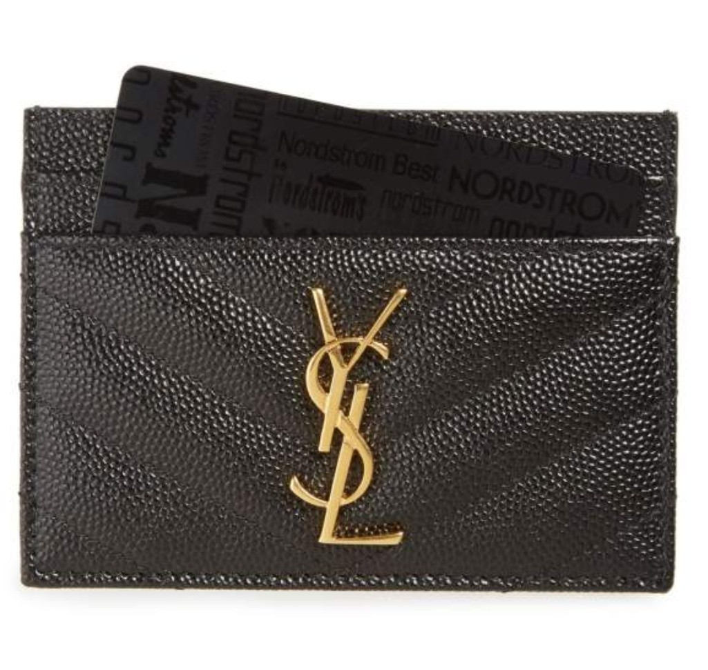 Authentic NEW YSL Monogram Quilted Leather Credit Card Case