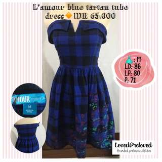 L'amour blue tartan dress