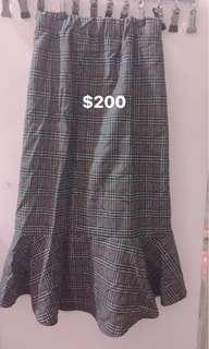 格紋魚尾裙