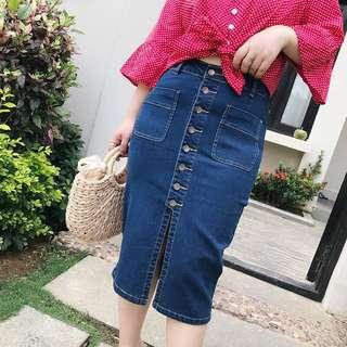 <Plus Size PO> High Waist Denim Skirt