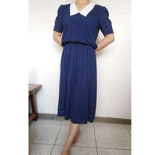🚚 藍色 白點 洋裝