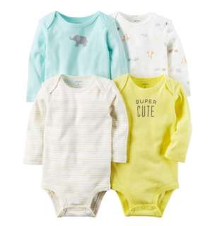 *9M* Brand New Carter's 4-Pack Long Sleeve Bodysuits For Baby Boy
