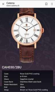 Catena~ Swiss made 瑞士製 機械男錶 鍍玫瑰金 全新有吊牌及原裝盒