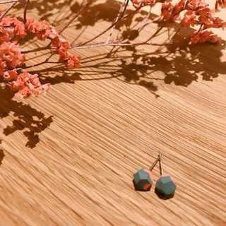 日本手工小石耳環(紅色配灰色)