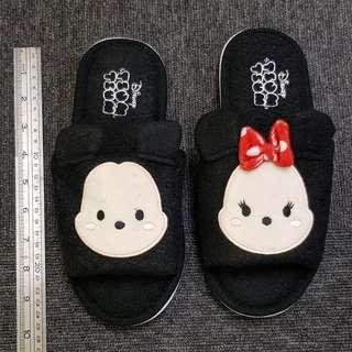 Disney Tsum Tsum Indoor Bedroom Unisex Black Slipper - Mickey & Minnie