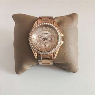 PRICE DROP: Rose Gold FOSSIL Watch with Crystals