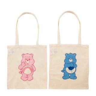 🚚 文青最愛-現貨㊣日本連線 最新 Care Bears彩虹熊文青  環保袋 zakka 棉手提袋  環保收納袋 購物袋