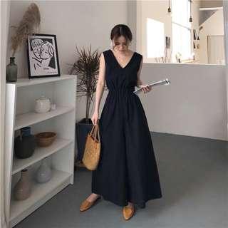 寬鬆背心V領設計素色高腰褲裙䟍身褲