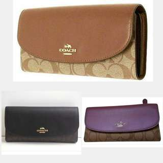 COACH LONG WALLET  SADDLE , BLACK BROWN , MAUVE & ALL BLACK COLOR