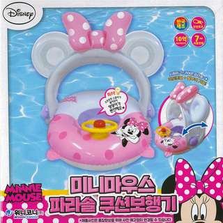 🚚 (Free Delivery) Disney Minnie Mouse Inflatable Baby Float Swimming Ring Seat with Steering Wheel and Canopy Shade